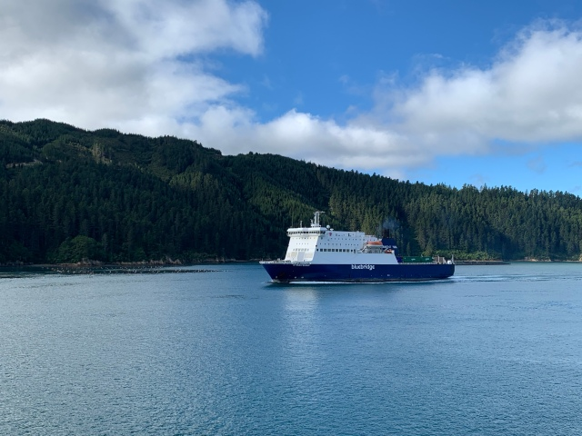 Bluebridge Ferry crossing across the Cook Straight in New Zealand with our camper van.