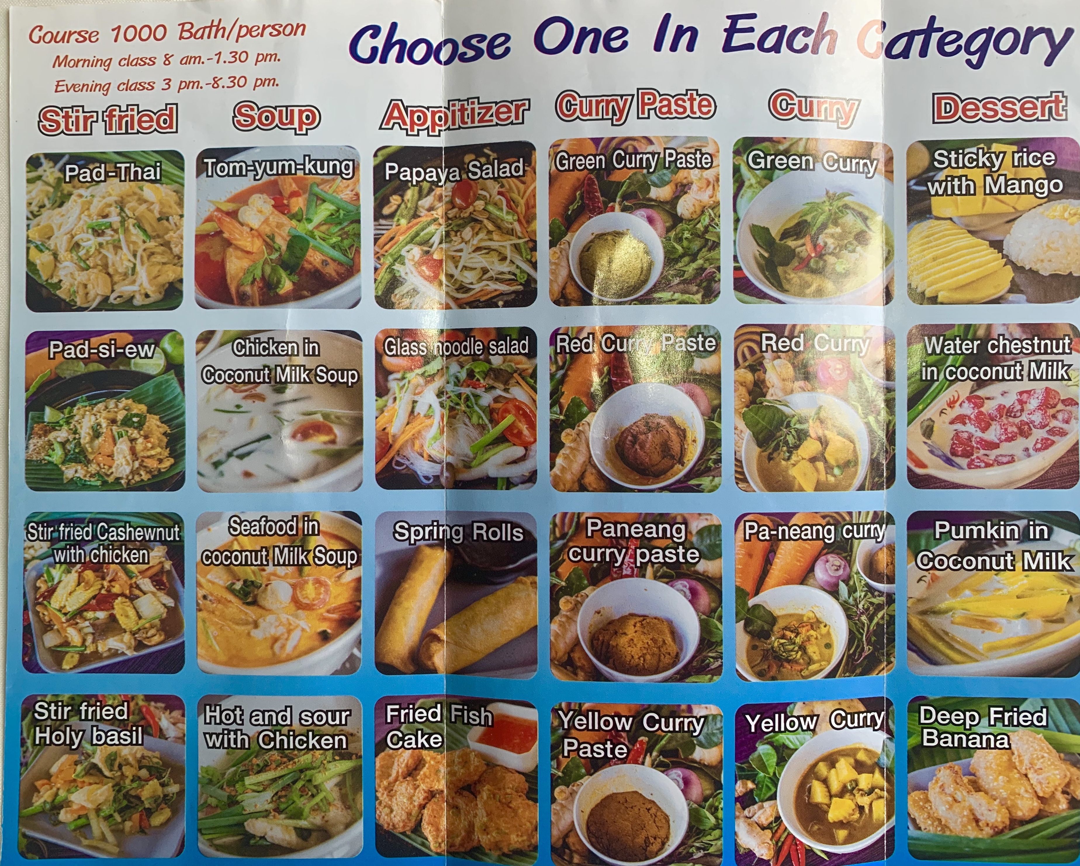 Cookventure Menu in Chiang Mai, Thailand